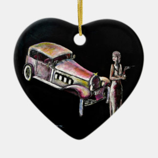 classic vintage car and 1920s style art deco lady ceramic ornament