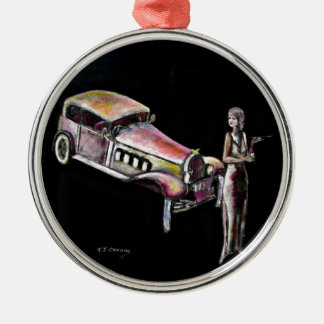 classic vintage car and 1920s style art deco lady metal ornament