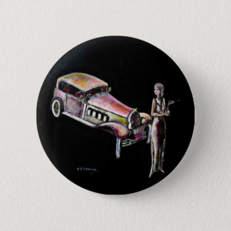 classic vintage car and 1920s style art deco lady pinback button