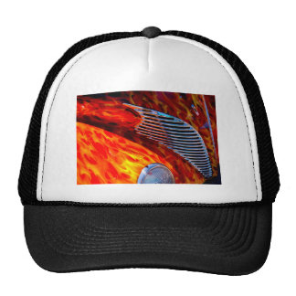 Classic Vintage Car Flame Paint Chrome Red Trucker Hat