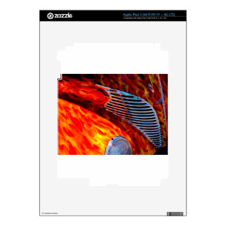 Classic Vintage Car Flame Paint Chrome Red Skins For iPad 3