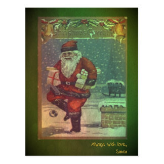 Classic vintage Christmas postcard with Santa