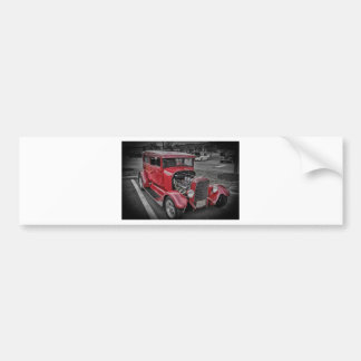 Classic Vintage Custom Classic Red Hot Rod HDR Bumper Stickers