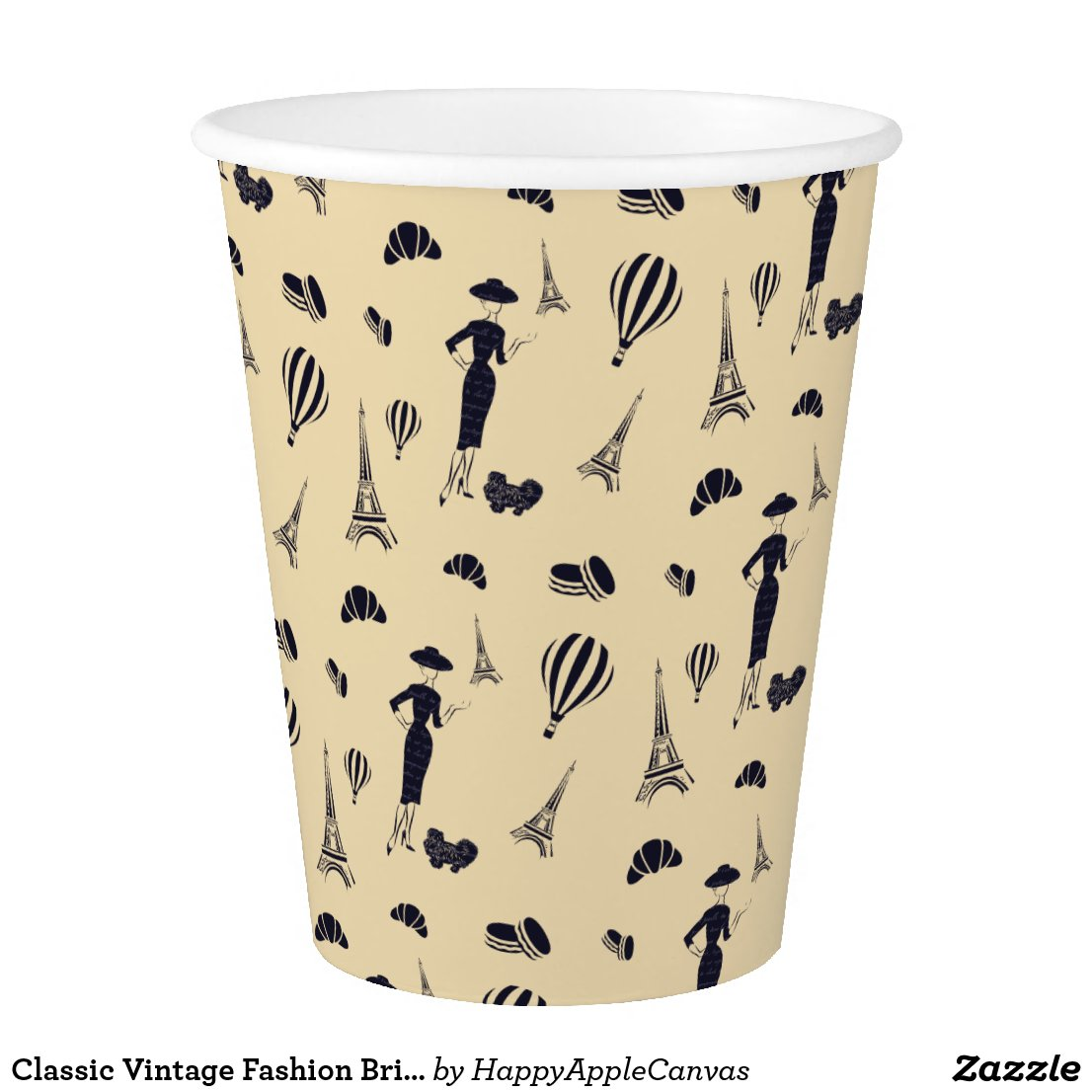 Classic Vintage Fashion Bridal Shower Paper Cup