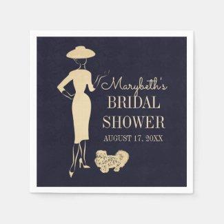 Classic Vintage Fashion Bridal Shower Paper Napkin