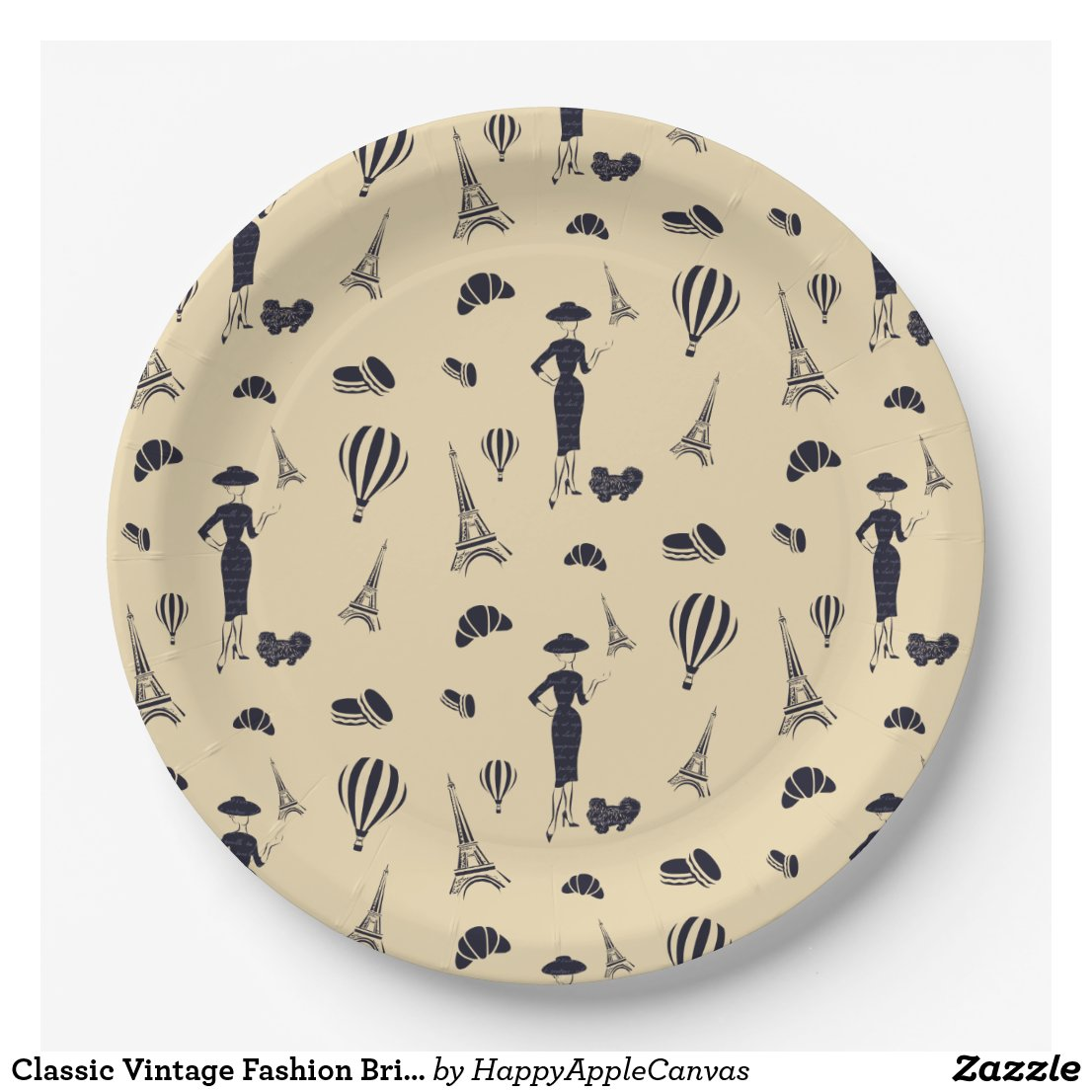 Classic Vintage Fashion Bridal Shower Paper Plates