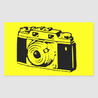 Classic/Vintage Film Camera Upon Yellow Backround Rectangle Stickers