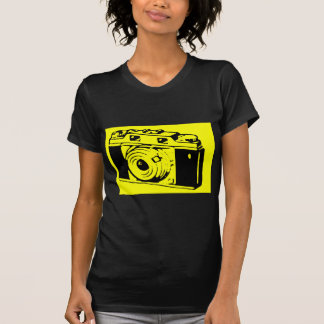 Classic Vintage Film Camera Upon Yellow Backround T Shirt