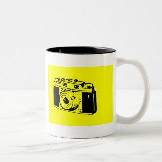Classic/Vintage Film Camera Upon Yellow Backround Two-Tone Coffee Mug