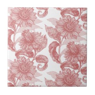 Classic Vintage Flower Design Tile