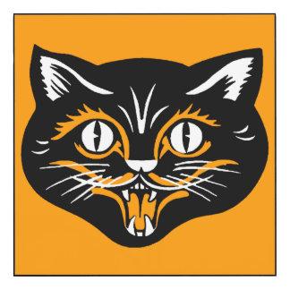 Classic Vintage Halloween Black Cat Face on Orange Wood Wall Art