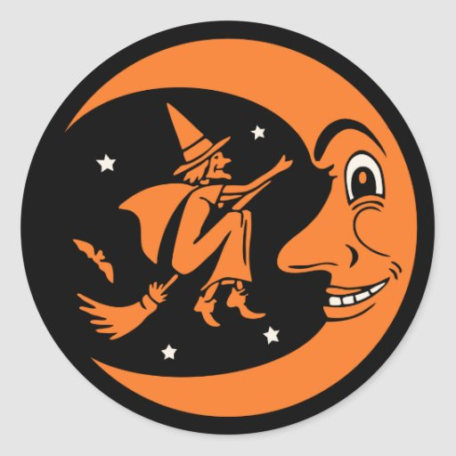 Classic Vintage Halloween Moon and Witch Sticker