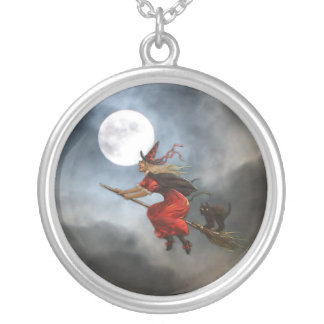 Classic Vintage Halloween Witch Silver Plated Necklace
