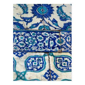 Classic Vintage iznik blue and white tile patterns Postcard