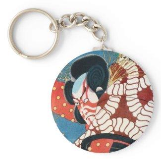 Classic vintage japanese kabuki samurai Utagawa Key Chains