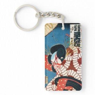 Classic vintage japanese kabuki samurai Utagawa Rectangle Acrylic Keychain