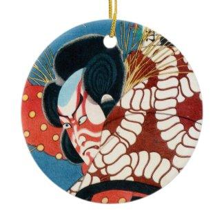 Classic vintage japanese kabuki samurai Utagawa Christmas Ornaments