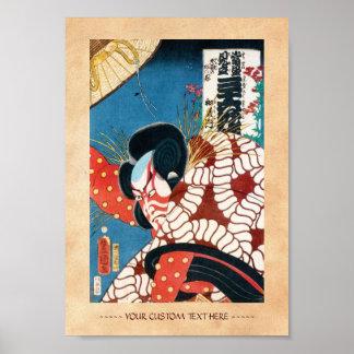 Classic vintage japanese kabuki samurai Utagawa Poster