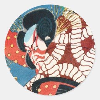 Classic vintage japanese kabuki samurai Utagawa Stickers