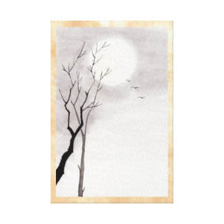 Classic vintage japanese night moon scenery sumi-e stretched canvas print