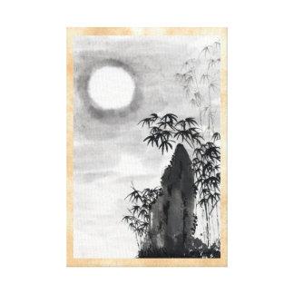 Classic vintage japanese night moon scenery sumi-e canvas print