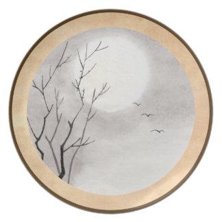 Classic vintage japanese night moon scenery sumi-e dinner plate