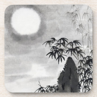 Classic vintage japanese night moon scenery sumi-e drink coaster