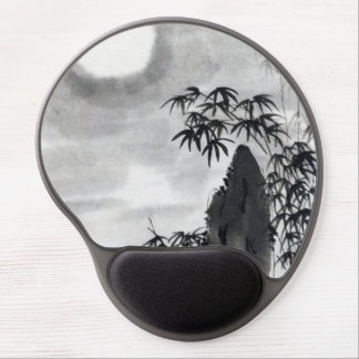 Classic vintage japanese night moon scenery sumi-e gel mouse pad