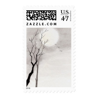 Classic vintage japanese night moon scenery sumi-e postage stamp