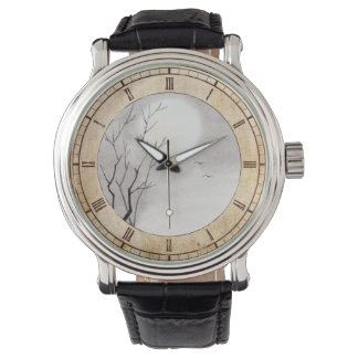 Classic vintage japanese night moon scenery sumi-e watches