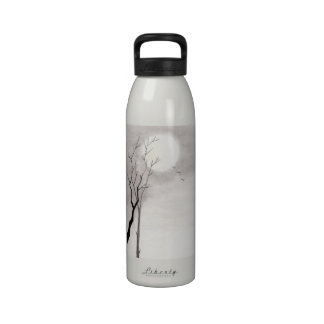 Classic vintage japanese night moon scenery sumi-e drinking bottle
