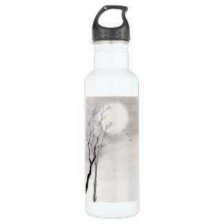 Classic vintage japanese night moon scenery sumi-e water bottle