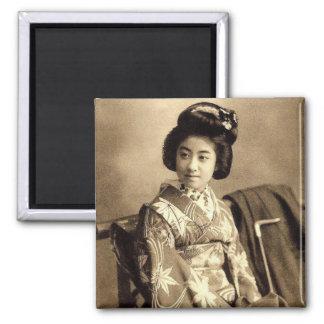 Classic Vintage Japanese Sepia Toned Geisha 芸者 Magnet