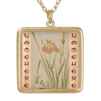 Classic vintage japanese sumi-e flower floral art personalized necklace