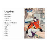 Classic vintage japanese ukiyo-e flute player art large business cards (Pack of 100)