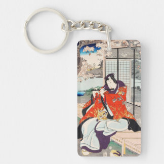 Classic vintage japanese ukiyo-e flute player art Double-Sided rectangular acrylic keychain