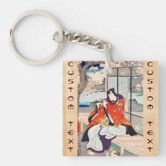 Classic vintage japanese ukiyo-e flute player art Double-Sided square acrylic keychain