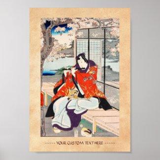 Classic vintage japanese ukiyo-e flute player art print