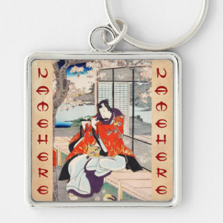 Classic vintage japanese ukiyo-e flute player art Silver-Colored square keychain