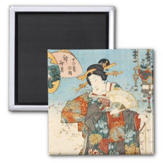 Classic vintage japanese ukiyo-e geisha Utagawa Refrigerator Magnet