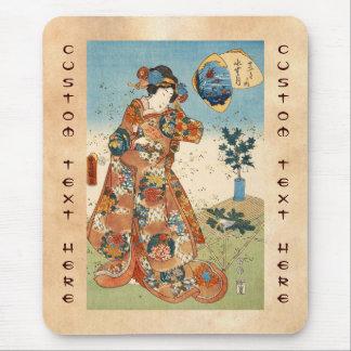 Classic vintage japanese ukiyo-e geisha Utagawa Mouse Pad