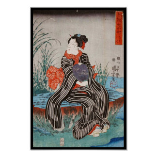 Classic vintage japanese ukiyo-e geisha Utagawa Poster