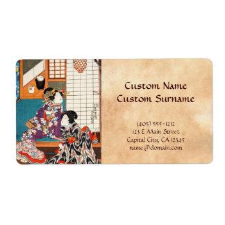 Classic vintage japanese ukiyo-e geishas Utagawa Shipping Label