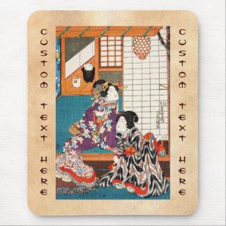 Classic vintage japanese ukiyo-e geishas Utagawa Mouse Pad