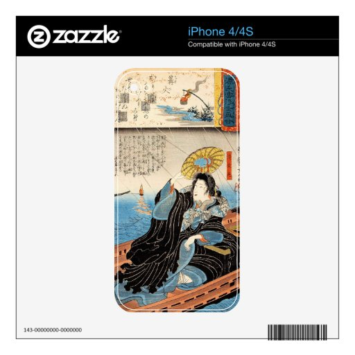 Classic vintage japanese ukiyo-e lady on boat art decals for iPhone 4S