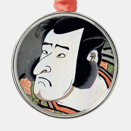 Classic vintage japanese ukiyo-e samurai tattoo christmas tree ornaments