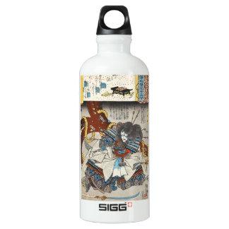 Classic vintage japanese ukiyo-e samurai Utagawa Aluminum Water Bottle