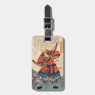 Classic vintage japanese ukiyo-e samurai warrior luggage tag
