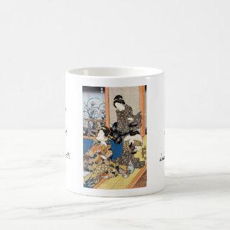 Classic vintage japanese ukiyo-e two geishas art coffee mug