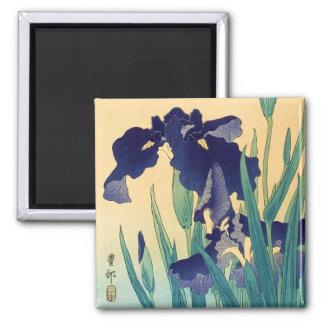 Classic vintage japanese ukiyo-e violet irises art 2 inch square magnet